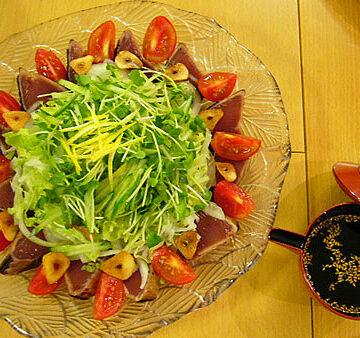 たっぷり野菜のカツオのたたき~こんぶダレ~