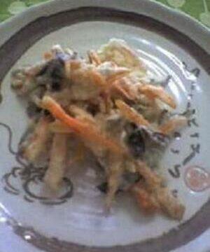 昆布と残り野菜のかき揚げ