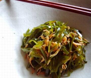 切り昆布と桜海老のナンプラー炒め