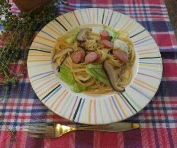 塩昆布とキャベツなどの栄養盛り盛りパスタ
